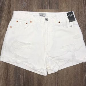 NWT Abercrombie White Destroyed High Waist Short